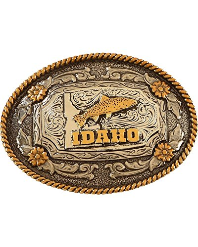 Cody James Men's Two Tone Idaho Oval Belt Buckle Silver One Size