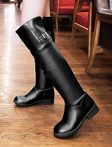 Black Heel Riding Knight On Womens Round Toe Chunky The Over Pull Casual Knee Strap Buckle Low Shoes Boots Aisun f8UCwq8
