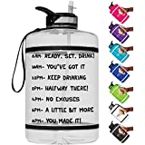 HydroMATE Gallon Motivational Water Bottle with Time Marker with Straw and Handle Large Reusable BPA Free Leak Proof Jug Times Marked to Drink More Water Daily Hydro MATE 1 Gal 128 oz
