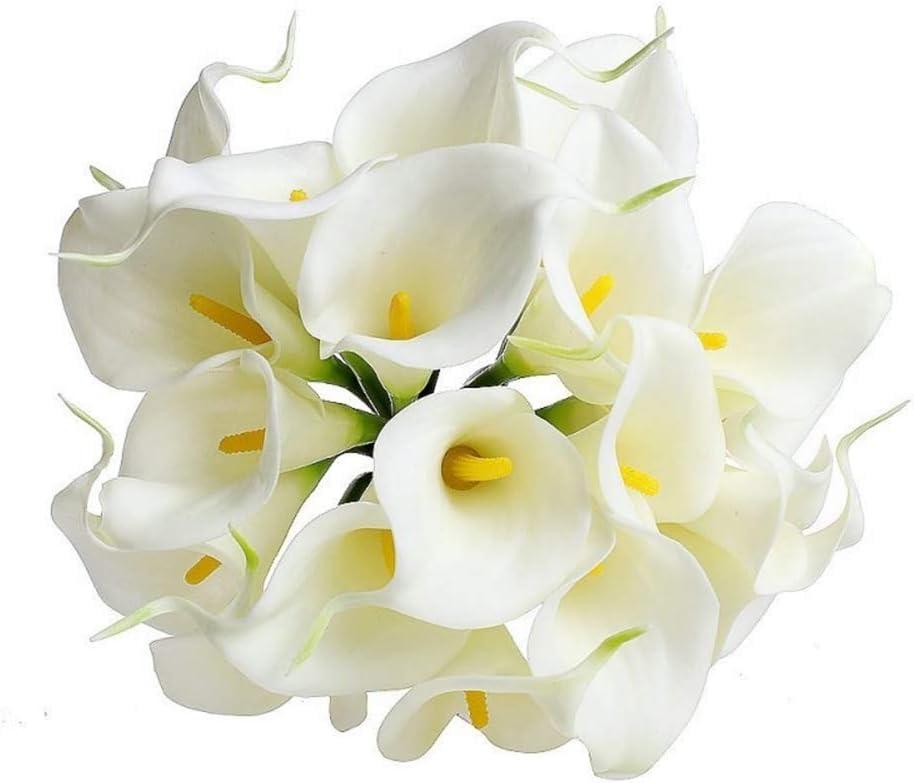 Blanco 34 cm SUREH Fiestas PU hogar Oficina Ramo de Flores Artificiales de Cala para decoraci/ón de Bodas 10 Unidades