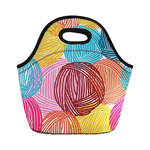 Semtomn Neoprene Lunch Tote Bag Blue Pattern Wool Balls Yarn Skeins Colorful Orange Hand Reusable Cooler Bags Insulated Thermal Picnic Handbag for Travel,School,Outdoors,Work