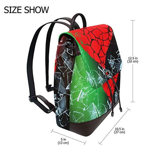Kvinnor PU-läder Sankt alla hjärtans dag hjärta ryggsäck handväska resa skola axelväska ledig dagväska