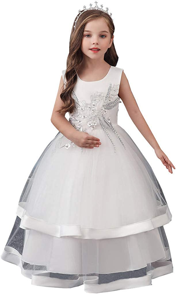 Little Story (3 Years-12 Years) Floral Kids Girls Princess Bridesmaid Pageant Gown Birthday Party Wedding Dress Girls Sleeveless