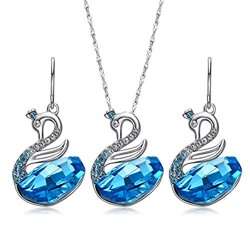 CDE Swan Jewelry Set Women Crystals from Swarovski 18K White Gold Plated Necklaces and Earring