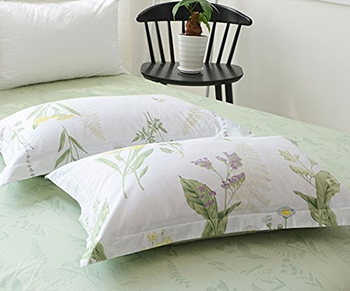 FADFAY Shabby Green Floral Duvet Cover Set Green Yellow Purple Blue Flowers Cotton Bedding Set 3 Pcs(1duvet Cover & 2pillowcases)California King Size by FADFAY (Image #7)