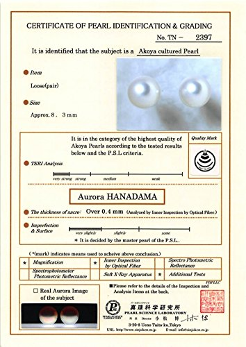 THE PEARL SOURCE 14K Gold 8-8.5mm Hanadama Quality Round White Akoya Cultured Pearl Stud Earrings for Women by The Pearl Source (Image #4)