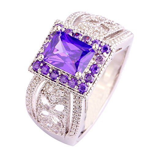 Empsoul 925 Sterling Silver Princess Cut Amethyst & White CZ Halo Engagement Bridal Filled Ring
