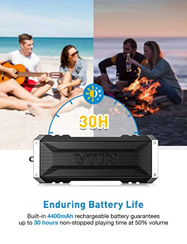 Vtin 20W Bluetooth Speaker Shockproof Outdoor Speaker with 30H Long Playtime Loud Stereo Sound IPX5