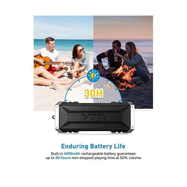 VTIN Punker Enceinte Portables Bluetooth, 30 Heure Haut-Parleur Extérieur Sans Fil avec Son Stéréo 20W Fort, IPX5 Imperméable,Crochet Détachable Haut-Parleur Portable 3