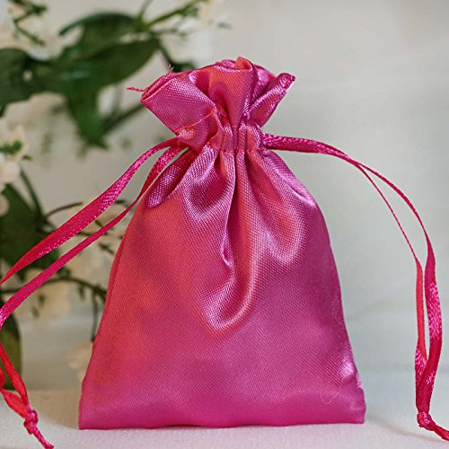 BalsaCircle 60 pcs 3x3.5-Inch Fuchsia Satin Drawstring Bags - Wedding Party Favors Jewelry Pouch Candy Gift - Fuchsia Candy