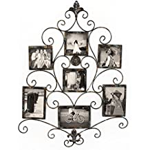 Adeco PF0601 7-Opening Metal Photo Picture Collage Frame, Antique Vintage Style, Classy Home Decor Accents, Black with Antique Finish