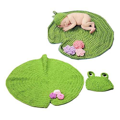 ZHUOTOP Infant Newborn Frog Prince Crochet Knit Hat+Lotus Leaf Blanket Kit Photography Props Baby Knits Kit