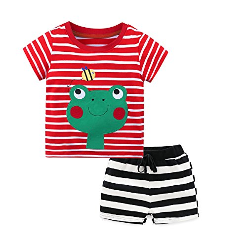 Fribro Kids Summer Pajamas Snug-fit Short Set 100% Cotton (Frog, 5T)