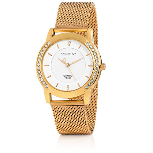 GOSHEN INT New Designer Women's Watch on Sale, Rose Gold plated, Stainless Steel Ladies Watch, Waterproof Adjustable Wrist Watch for Women, Fitting all Hand Sizes - Link Designer Water Resistant Watch