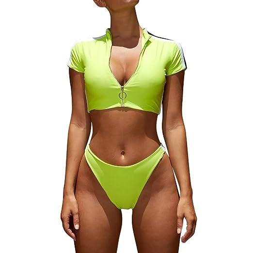 da6eaa2ee2c Amazon.com: ZZRWOMEN New Women Rash Guard Short Sleeve Bathing Suits High  Waist 2 Piece Sporty Bikini: Clothing