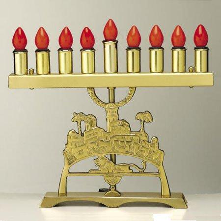 Brass Jerusalem Electric Menorah (Mdcetemn1)