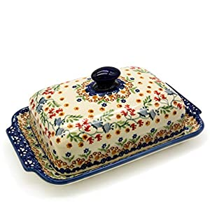 Bunzlauer Butter Dish with Button Handle for 250 g Butter Dekor Florac