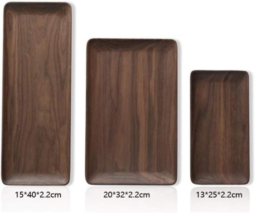 トレイをサービング・ブラックウォルナット全体ウッド長方形トレイフルーツスナック皿木製プレートフレンドリーストレージトレイカンフーティー (Color : 20x32cm)