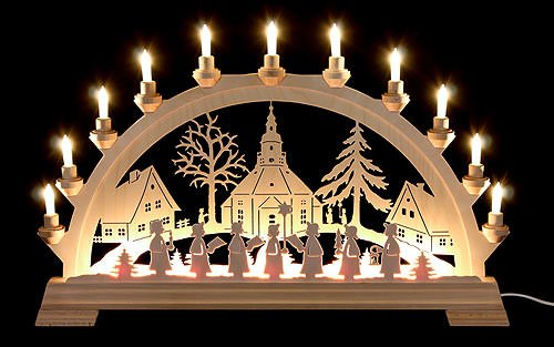 KWO of North America 62003 - 25.6'' x 16.9'' 16 Light Electric Seiffen Church German Arch