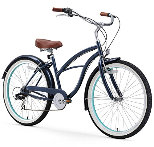 Style Beach Cruiser Bike Bicycle (sixthreezero Women's 7 Speed 26-Inch Beach Cruiser Bicycle, Dark Blue)