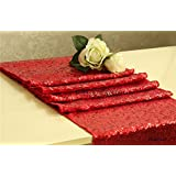 QueenDream 13''x72'' sequin table runner,sequin tablecloth-Red