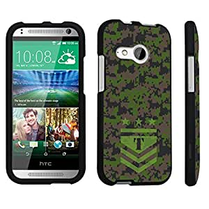 DuroCase ? HTC One mini 2 [2014 Released] Hard Case Black - (Army Camo Monogram T)