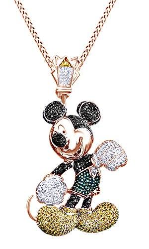 Simulated Multi Color CZ Men's Hip Hop Mouse Pendant In 14k Rose Gold Over Sterling Silver by AFFY