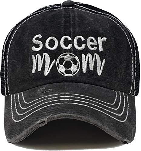 BH-200-SMOM06 Patch Mesh Baseball Hat - Soccer MOM - Black (Cap Soccer Mom)