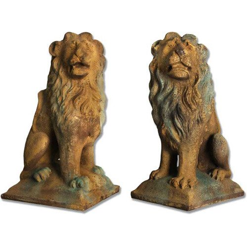 (XoticBrands OSFSDS513S Sitting Lion Set 24 Garden Animal Outdoor Statues)