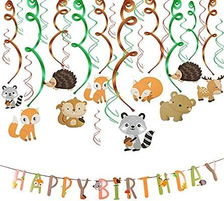 Howaf 30 Piezas Animal Colgar Decoraciones de Remolino Adornos de espirales y Feliz cumpleaños Banner para Infantiles Niños Fiestas de Cumpleaños ...