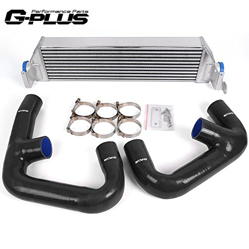 (Twin Aluminum Turbo Performance Intercooler Upgrade + Intercooler Pipe Kit For VW Golf R GTI FWD MK7 2.0T 2015+)