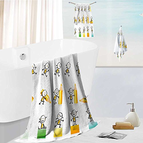 aolankaili Ultra Soft Bathroom Towels Set children hand draw