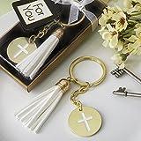 24 Gold Metal Cross Themed White Tassel Key Chains