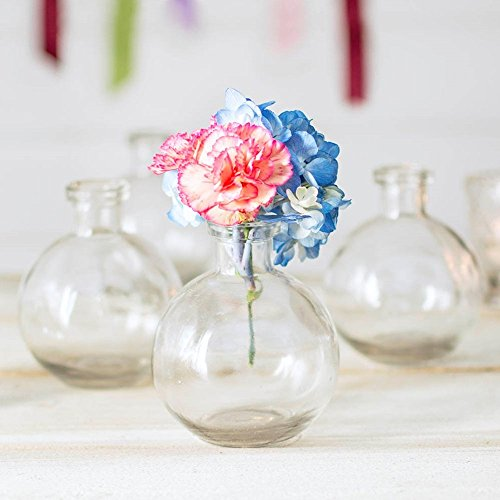 - Glass Bud Vase, Ball Bottle, 3.5 in. round x 4.25 in., Clear, 12 pack Glass Bud Vase, Ball Bottle, 3.5 in. round x 4.25 in., Clear, 12 pack