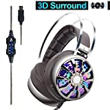 PC Gaming Headset, Wired Over Ear USB Gaming Computer Headphones Noise Canceling with 7.1 Virtual Surround Sound 3D Vibration 4 Speakers with Hidden Mic, Vibration Control, LED Light