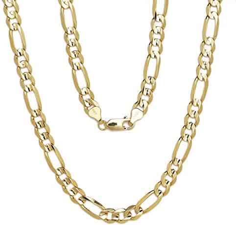 10k Yellow Gold Figaro Chain Necklace with Concave Look, 0.28 Inch (7mm)