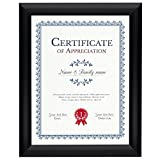 SnapeZo Black Certificate Frame 8.5x11, Front-Loading Aluminum, 1'' Profile, Front-Loading Snap Frame, Wall Mounting