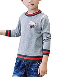 MFrannie Boys Pretty Bee Embroidery Stripe Hem Knitted Autumn Sweater