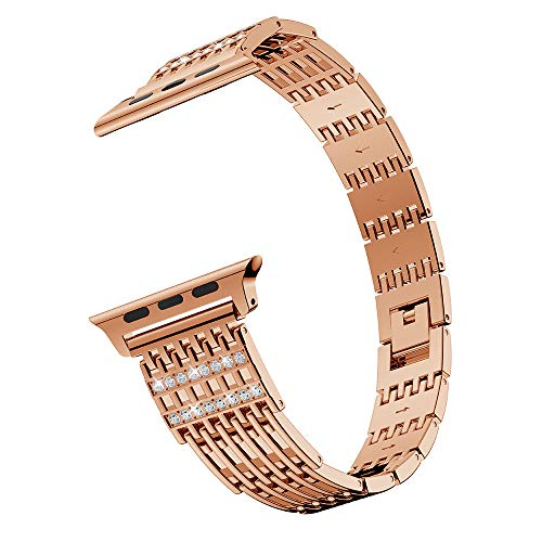(MiniPoco Tech Comfortable Durable Metal Crystal Watch Band for Apple Watch Series 4 48mm)
