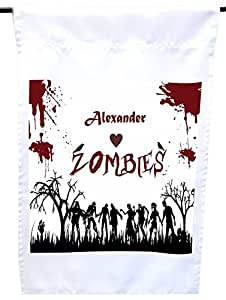 "Rikki Knight ""Alexander"" Loves Zombies on Red Grunge Personalized with Name House or Garden Flag, 12 x 18-Inch Flag Size with 11 x 11-Inch Image"