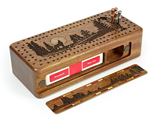 Wolf -Grey Wolf- Gray Wolf Engraved Wooden Cribbage Board with Quality Metal Pegs by Mitercraft