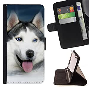 For LG G2 D800 Husky Blue White Panting Malamute Dog Style PU Leather Case Wallet Flip Stand Flap Closure Cover