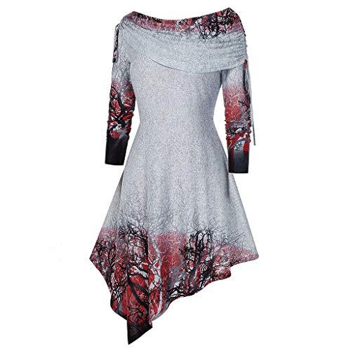 NANTE Top Loose Women's Blouse Gothic Criss Cross Print Long Sleeve Irregular Hem T-Shirt Tops Halloween Christmas Party Shirt (Red, XL)