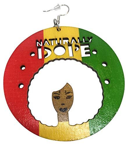 Naturally Dope Afro Earrings/Natural Hair Earrings/African American Woman Earring/African Wood Jewelry (Rasta)