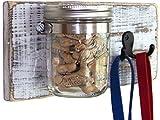 Dog Leash Holder: Rustic White Farmhouse Decor Dog Treat Jar w/Leash Hooks; Great dog lover's gift