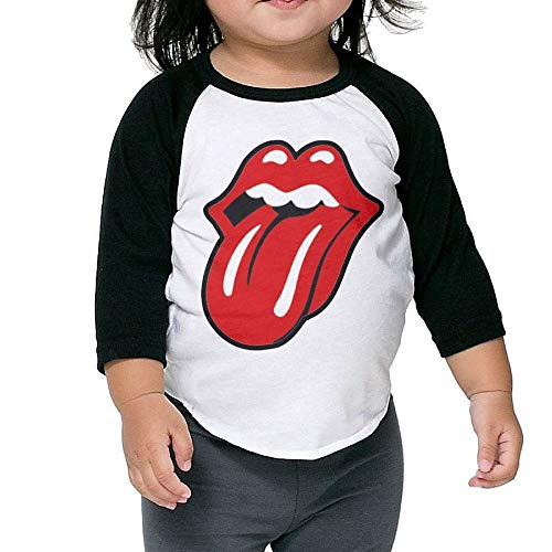 (FLangeer Kid Plain Snapback Rolling Stones Classic 3/4 Sleeve Raglan T Shirts Boys & Girls Black 5-6)