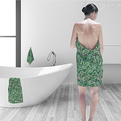 Nalahomeqq Hand towel set Green Asian Decor Classic Design Swirl Cucumber Illustration Curvy Outline Mexican Vegetable Summer Image Fabric Bathroom Lime Green Olive