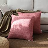 Kevin Textile Decorative Lined Linen Soft Square Throw Cushion Covers Toss Pillow Shams for Teen Girls/Bed, Set of 2, 18'' x 18'', Baby Pink