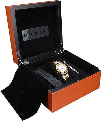 FIONAT Caja para Relojes Cajas para Joyas Hombre Regalo Viaje Mujer Caja De Almacenamiento De Madera De Terciopelo Flip Pintura Amarilla De Madera 17.4 * 17.4 * 9.6Cm: Amazon.es: Joyería
