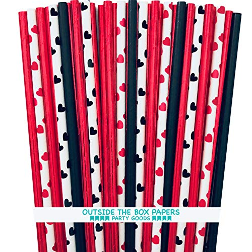 Red Black and White Heart Foil and Paper Straws - 7.75 Inches - 100 Pack - Outside the Box Papers Brand